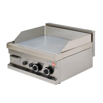 Fry top pe gaz cu suprafata neteda/striata cromata 600x600mm