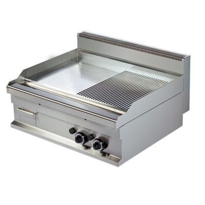 Fry top pe gaz cu suprafata neteda/striata, 800x700x290mm