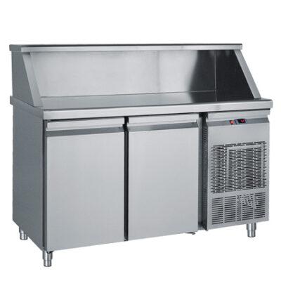 Masa frigorifica cu 2 usi si suport pentru vitrina ingrediente, 1550x700mm