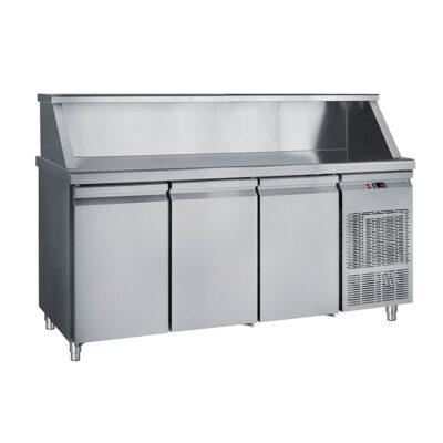 Masa frigorifica cu 3 usi si suport pentru vitrina ingrediente, 1850x700mm