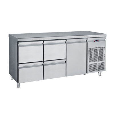 Masa frigorifica cu 1 usa si 4 sertare, 1850x700x850mm