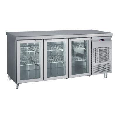 Masa frigorifica cu 3 usi din sticla, 1850x700x850mm