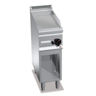 Fry top pe gaz cu suprafata striata si cadru deschis 300x600mm