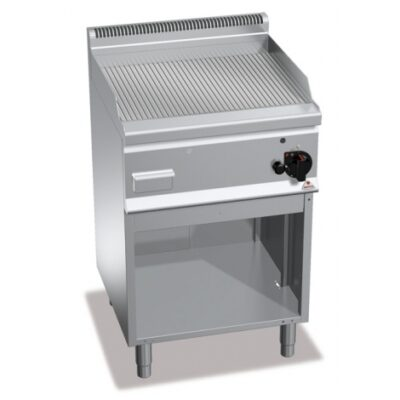 Fry top pe gaz cu suprafata striata si cadru deschis 600x600mm