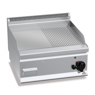 Fry top pe gaz cu suprafata neteda/striata 600x600mm