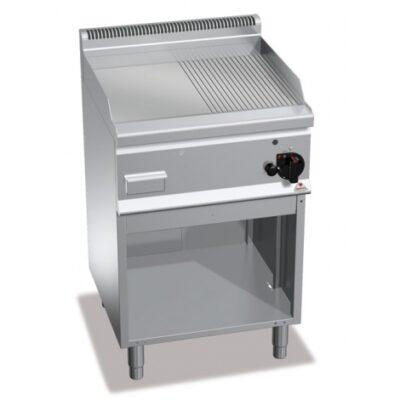 Fry top pe gaz cu suprafata neteda/striata si cadru deschis 600x600mm