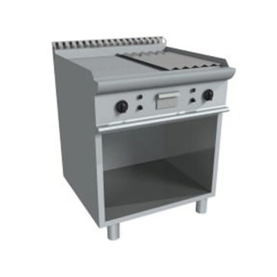Fry top electric cu suprafata neteda/striata si dulap deschis, 800x700mm