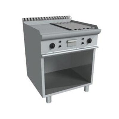 Fry top electric cu suprafata neteda/striata si dulap deschis, 800x700mm