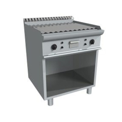 Fry top electric cu suprafata striata si dulap deschis, 800x700mm