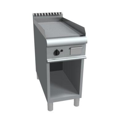 Fry top electric cu suprafata striata si suport deschis, 400x900mm