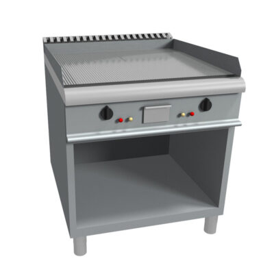 Fry top electric cu suprafata striata si suport deschis, 800x900mm