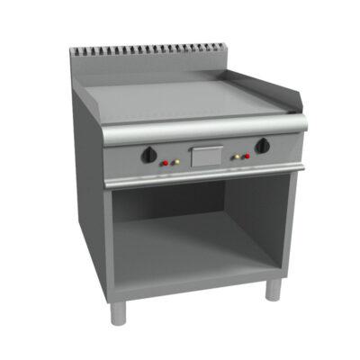 Fry top pe gaz cu suprafata neteda si suport deschis, 800x900mm