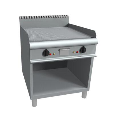 Fry top pe gaz cu suprafata striata si suport deschis, 800x900mm