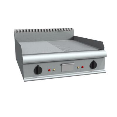 Fry top pe gaz cu suprafata neteda/striata, 800x900mm