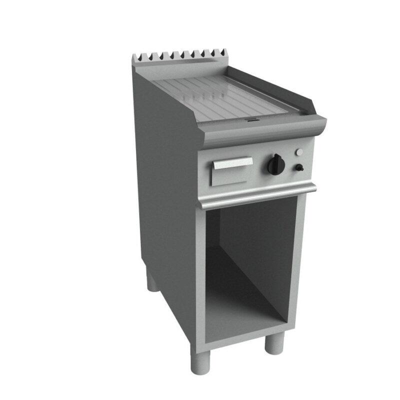 Fry top electric cu suprafata striata si dulap deschis, 400x700mm