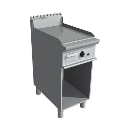 Fry top pe gaz cu suprafata striata si dulap deschis, 400x700mm