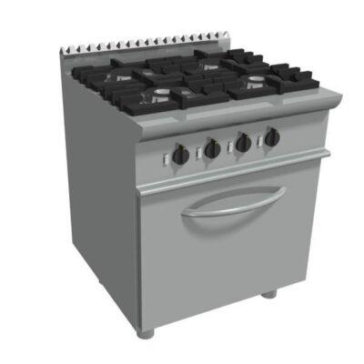 Masina de gatit pe gaz cu 4 arzatoare si cuptor electric, 800x700x850mm