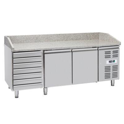 Masa frigorifica pentru pizza cu 2 usi si sertare, 2020x800x1000mm