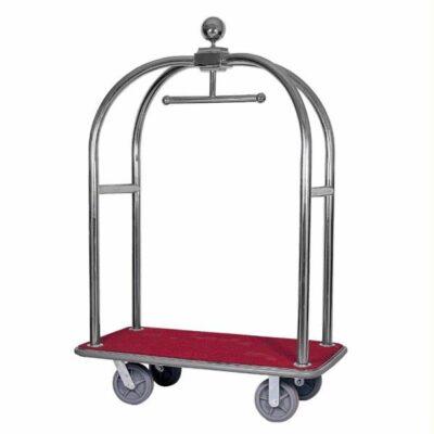 Carucior bagaje din inox cu suport pentru haine, 1240x640x1900mm