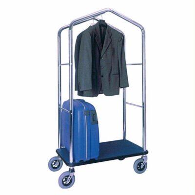 Carucior bagaje din otel cromat cu suport pentru haine, 950x550x1830mm