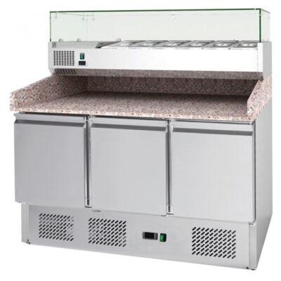 Masa frigorifica pentru pizza cu 3 usi, 1400x700x1030mm