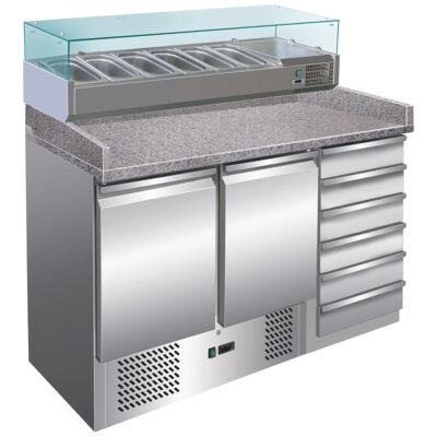 Masa frigorifica pentru pizza cu 2 usi si 6 sertare, 1420x700x1030mm