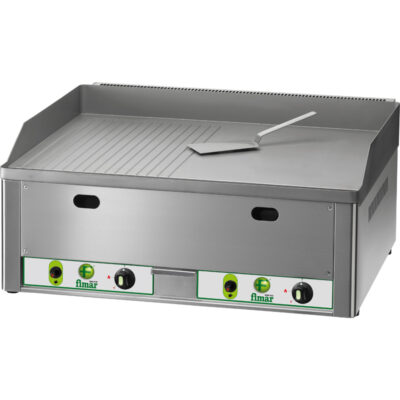 Fry top pe gaz cu suprafata neteda/ striata, 650x480mm