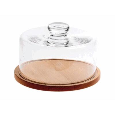 Tocator rotund din lemn cu capac din sticla, 280mm