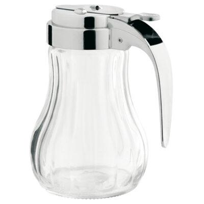 Dispenser din sticla pentru miere, cu capac si maner din plastic cromat