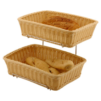 Set 2 bucati cos polyrattan pentru paine