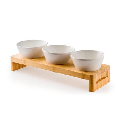Stand din bambus cu 3 boluri din melamina
