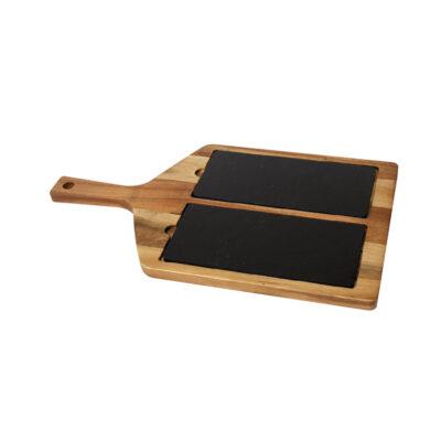 Blat de taiere din lemn cu 2 placi din ardezie