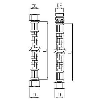 Racord flexibil pentru robinet 1/ 2'' + 1/ 2'' L 750mm