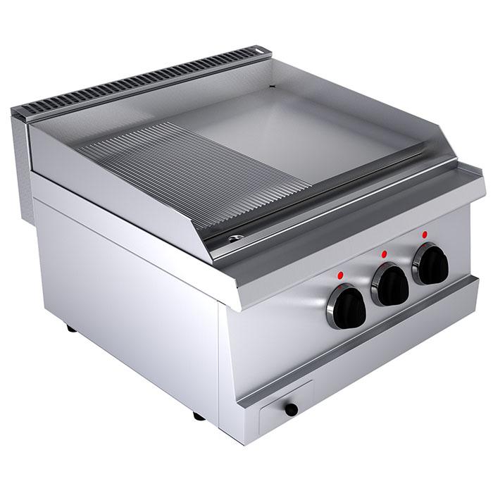Fry top electric cu suprafata neteda/striata, 600x600x300mm