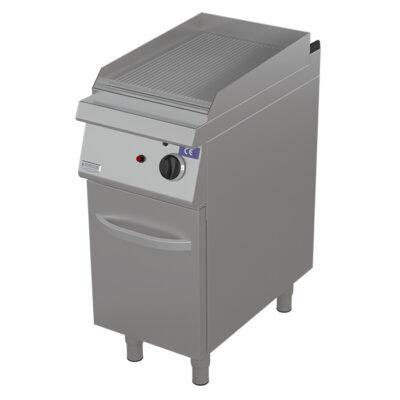 Fry top pe gaz cu suprafata striata si dulap, 400x730mm
