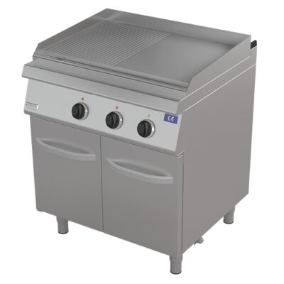 Fry top electric cu suprafata neteda/striata si dulap, 800x730mm