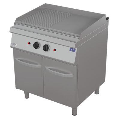 Fry top pe gaz cu suprafata neteda/ striata si dulap, 800x730mm