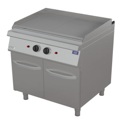 Fry top pe gaz cu suprafata neteda/ striata, 800x900mm