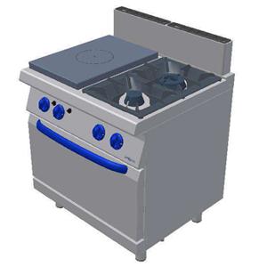 Masina de gatit pe gaz cu plita, 2 arzatoare si cuptor pe gaz GN 2/ 1 800x700