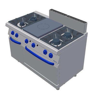 Masina de gatit pe gaz cu plita, 4 arzatoare si cuptor pe gaz GN2/1 1200x700mm