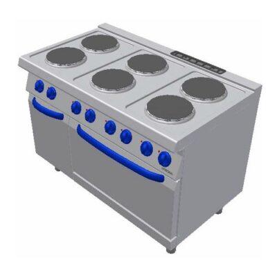 Masina de gatit electrica cu 6 plite rotunde si cuptor electric GN2/1