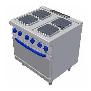 Masina de gatit electrica cu 4 plite patrate si suport deschis 800x700mm