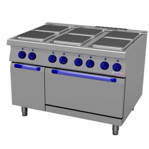 Masina de gatit electrica cu 6 plite, cuptor electric si dulap neutru, 1200x700mm