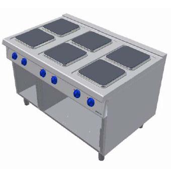 Masina de gatit electrica cu 6 plite si suport deschis, 1200x900mm