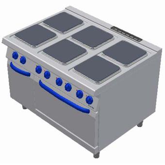 Masina de gatit electrica cu 6 plite, cuptor electric si dulap neutru, 1200x900mm