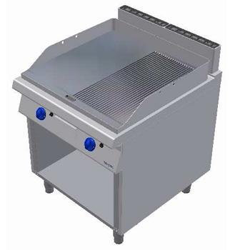 Fry top pe gaz cu suprafata neteda/striata si suport deschis, 800x900mm