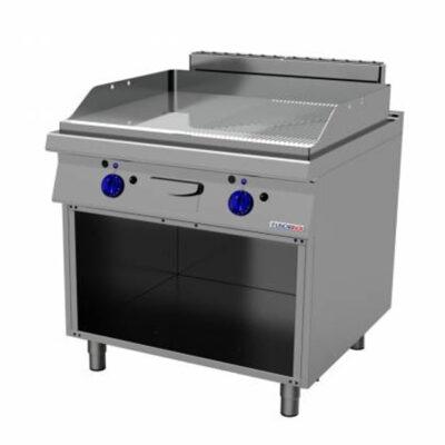 Fry top pe gaz cu suprafata neteda/striata cromata si suport deschis, 800x900mm