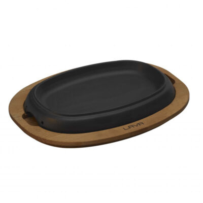 Tava din fonta ECO pentru cuptor, suport din lemn, 19x12cm