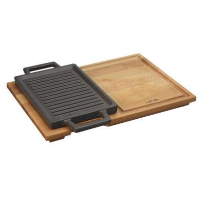 Tava din fonta ECO pentru cuptor, suport din lemn, 22x15cm
