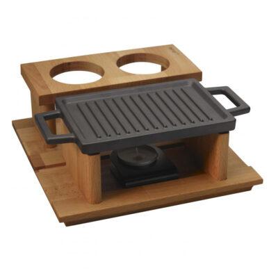Tava din fonta ECO pentru cuptor cu suport de servire din lemn, 22x15cm